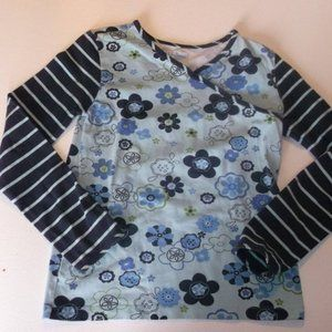 L.L. Bean Blue Mixed Media Shirt Girl 12